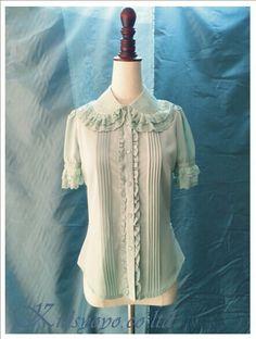 Double Layers Embroidery Lolita Shirt #Lolita #Shirt