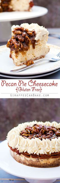 Gluten Free Pecan Pie Cheesecake - This Gluten Free Pecan Pie Cheesecake is the perfect way to shake up Thanksgiving dessert! It's has a gluten free pecan and walnut crust with creamy baked vanilla cheesecake, a bourbon pecan pie topping and bourbon brown