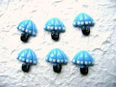 Blue Umbrella Kawaii Cabochons 6pcs 24mm by DecoSweets on Etsy, $2.75