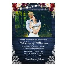 Rustic Wedding Floral Blue Wood Lights Lace Photo Invitation Burgundy Wedding Invitations, Country Wedding Invitations, Beautiful Wedding Invitations, Watercolor Wedding Invitations, Rustic Invitations, Shower Invitations, Invites, Wood Invitation, Photo Invitations