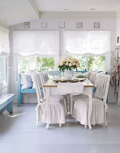 New chairs get a customized look when dressed up in vintage linen.