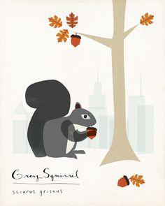 SQUIRREL! Gray Squirrel Limited Edition Print by ShopAmySullivan on Etsy, $25.00