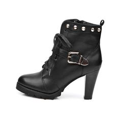 Heeled Ankle Boots with Studded Cuffs ($135) found on Polyvore