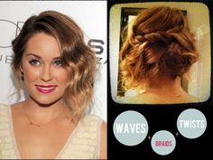 1920's inspired messy bun with waves, braids and twists
