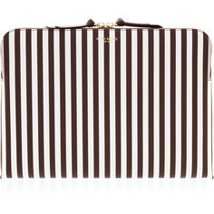 Henri Bendel Centennial Stripe Laptop Case (£110) ❤ liked on Polyvore featuring accessories, tech accessories, henri bendel, padded laptop case, white laptop case, laptop case and laptop sleeve cases