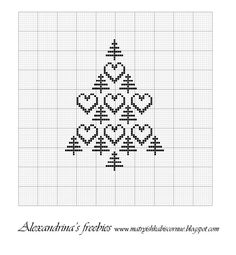 Trees and Hearts Cross Stitch Christmas Cards, Cross Stitch Tree, Cross Stitch Heart, Cross Stitch Alphabet, Christmas Cross, Cross Stitching, Cross Stitch Embroidery, Cross Stitch Patterns, Loom Patterns