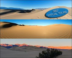 Here are links to 360 degree interactive panoramas of Sand Dunes in Death Valley National Park I shot last January.    http://www.photojpl.com/panorama-of-sand-dunes-in-death-valley-california/-/p7O5C84Ey3/  http://www.photojpl.com/sunset-in-the-sand-dunes-at-death-valley-desert/-/7EQ3DCK6Bp/  http://www.photojpl.com/mesquite-flats-dunes-at-death-valley-national-park-virtual-tour/-/C3mi6NnU6a/