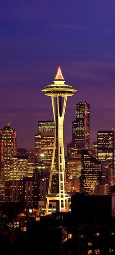 The Space Needle in Seattle Washington at twilight hour  photo: Brent Smith on 1X