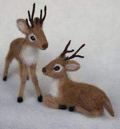 Needle Felted Reindeer Christmas Santa Reindeer by Claudia Marie Felt