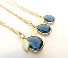 Set of 3 Bridesmaid Necklaces Sapphire Blue Necklace Gold Leaf Necklace Navy Royal Blue Wedding Jewelry Something Blue Bridal Jewelry Cobalt on Etsy, $73.00