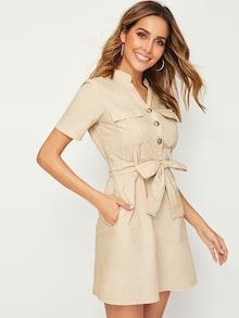 To find out about the Metal Button Self Tie Pocket Dress at SHEIN, part of our latest Dresses ready to shop online today! V Neck Dress, Dress P, Dress Outfits, Casual Dresses, Shirt Dress, Fashion Dresses, Button Front Dress, Frack, Metal Buttons