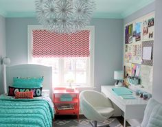 Jules' Fresh Mint & Coral Tween Room Professional Project | Apartment Therapy