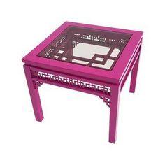 Vintage Hollywood Regency Pink Fretwork Side Table