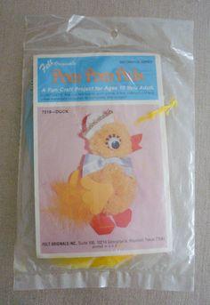 Felt Originals Pom Pom Pals Vintage Craft Kit Sailor Duck NIP #FeltOriginals