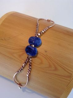 """""""Tahoe""""  Rose Gold plate, Kazuri beads, magnetic clasp by ScarletMareStudio (Bracelet)  $30  see website for more photos."""
