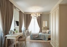 Bedroom with beautiful curtains