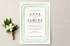 Watercolor Frame Wedding Invitations by Laura Condouris at minted.com