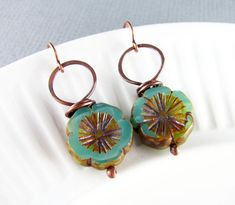 Copper Earrings Wire Wrapped Earrings Turquoise by PolymerPlayin