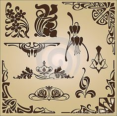 Art Nouveau elements and corners design ornament by Lyotta, via Dreamstime