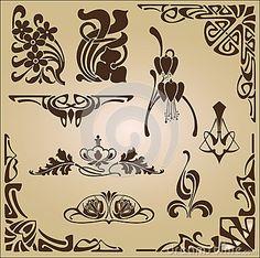 Art Nouveau elements and corners design ornament by Lyotta, via Dreamstime