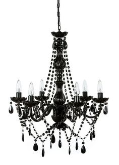 Blakely Black Acrylic Crystal Boho Gypsy Chandelier In 3 Sizes Dining Room