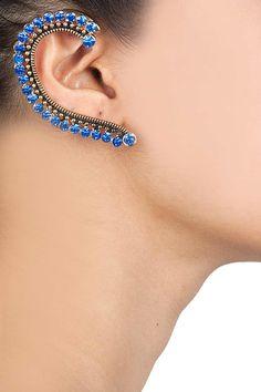 Blue and black swarovski statement earcuff BY BANSRI. Shop now at perniaspopupshop.com