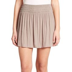Ramy Brook Paris Skirt (15,240 INR) ❤ liked on Polyvore featuring skirts, mini skirts, apparel & accessories, mineral grey, ramy brook, long gathered skirt, ruched skirt, long ruched skirt and gray mini skirt
