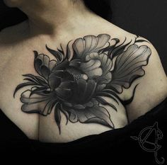 Large peony on chest by Scratchline Tattoo