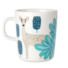 Marimekko Kaunis Kauris White/Turquoise Mug - Marimekko Mugs and Cups