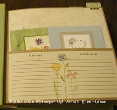 Easy Elegance Card Organizer Inside Page by EllenH - Cards and Paper Crafts at Splitcoaststampers Card Organizer, Organizers, Storage Ideas, Mini Albums, Stampin Up, Paper Crafts, Organization, Gift Ideas, Pocket