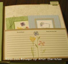 Easy Elegance Card Organizer Inside Page