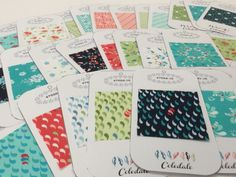 Making swatches for my Coledale collection. A great way to assist in pattern writing.  #showmethemoda #coledalefabric #quiltjane #fabricdesign #swatches   http://www.modafabrics.com/fcc_coledale.pdf
