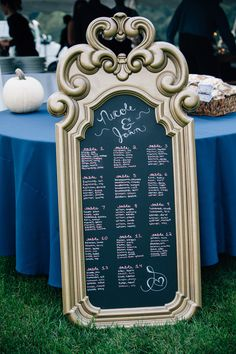 Chalkboard Seating Chart // Mirror from Goodwill $4.99 // Rust-Oleum Hammered Gold Spray Paint // Rust-Oleum Chalkboard Spray Paint // Chalk PENS** from Hobby Lobby