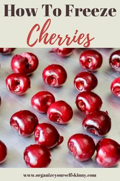 how to freeze cherries. the best way to freeze cherries so you can stock up when in season to enjoy year round. healthy cherry recipes to make with frozen cherries. Frozen Cherries, Sweet Cherries, Frozen Fruit, Frozen Strawberries, Fresh Fruit, Tart Cherries, Fresh Cherry, Cherries Jubilee, Cherry Recipes Healthy