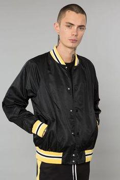 Black/Yellow Nylon Varsity Jacket Elwood Clothing, Bomber Jacket Men, Mens Joggers, Striped Shorts, Black N Yellow, Urban Fashion, Button Up Shirts, Street Wear, Hoodies
