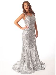 Silver Sequin Old Hollywood Glam Glitter Gown