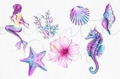 Mermaid Clipart Watercolor Sea Underwater Illustration Starfish Siren Seashell Seahorse DIY Pack Summer Collage Sheet Pink Purple Blue - Mermaid Clipart Watercolor Sea Clipart Seashells by froufroucraft - Seashell Tattoos, Ocean Tattoos, Mermaid Tattoos, Body Art Tattoos, Octopus Tattoos, Sea Tattoo, Seahorse Tattoo, Seahorse Art, Coral Tattoo