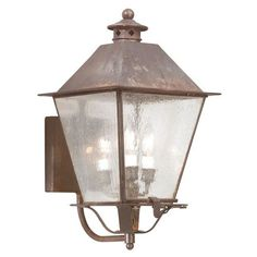 Natural Aged Brass Montgomery Three-Light Wall Mount Post Mount Metal Top Lantern - (In Natural Aged Brass)