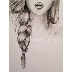 Lips & Braid. simple sketch