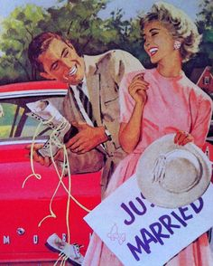 ..After the wedding the new couple would ride thru town w/cans, shoes, etc. tied to the car,...blowing their horn.  A parade of cars would follow, then onto the reception