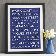 Personalised Classic Destination Print #personal touch list all the places we've been to together