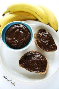 Krem nutella z bananów, kakao, rodzynek i orzechów - WegePedia Nutella, Pancakes, Cheesecake, Food And Drink, Sweets, Beef, Vegan, Cookies, Baking