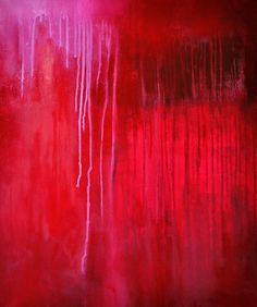 Red Rain 2  - original abstract oil painting LARGE 20x25 inch
