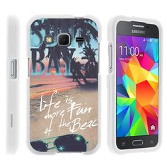 Galaxy Core Prime Case SNAP SHELL White 3 IN 1- Slim Hard Fitted Case - Life at the Beach
