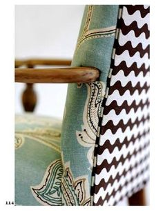 I'm searching for inspiration to reupholster a chair. This one is from House of Fifty Summer 2012