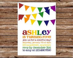customizable Rainbow birthday party invitations | Paper Type Select an option Digital File Only Signature Matte 100% ...