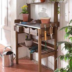 Garten-Arbeitstisch, aus Holz und Metall, verzinkte Metall-Arbeitsfläche mit drei Schubfächern, Kiefernholz geölt aus Polen Katalogbild