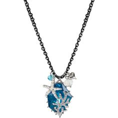 Betsey Johnson Iconic Sea Gem Of The Sea Pendant ($45) ❤ liked on Polyvore featuring jewelry, necklaces, accessories, blue, blue pendant necklace, starfish necklace, pendant necklace, long beaded necklace and gemstone necklaces