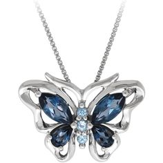 Blue Topaz Butterfly Fashion Pendant in Sterling Silver ($108) ❤ liked on Polyvore featuring jewelry, pendants, blue, sterling silver charms, long pendant, butterfly charm, sterling silver jewelry and sterling silver charms pendants