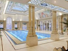 Luxury Swimming Pools, Luxury Pools, Indoor Swimming Pools, Swimming Pool Designs, Piscina Interior, Classic House Exterior, Luxury House Plans, House Drawing, Apartment Interior Design